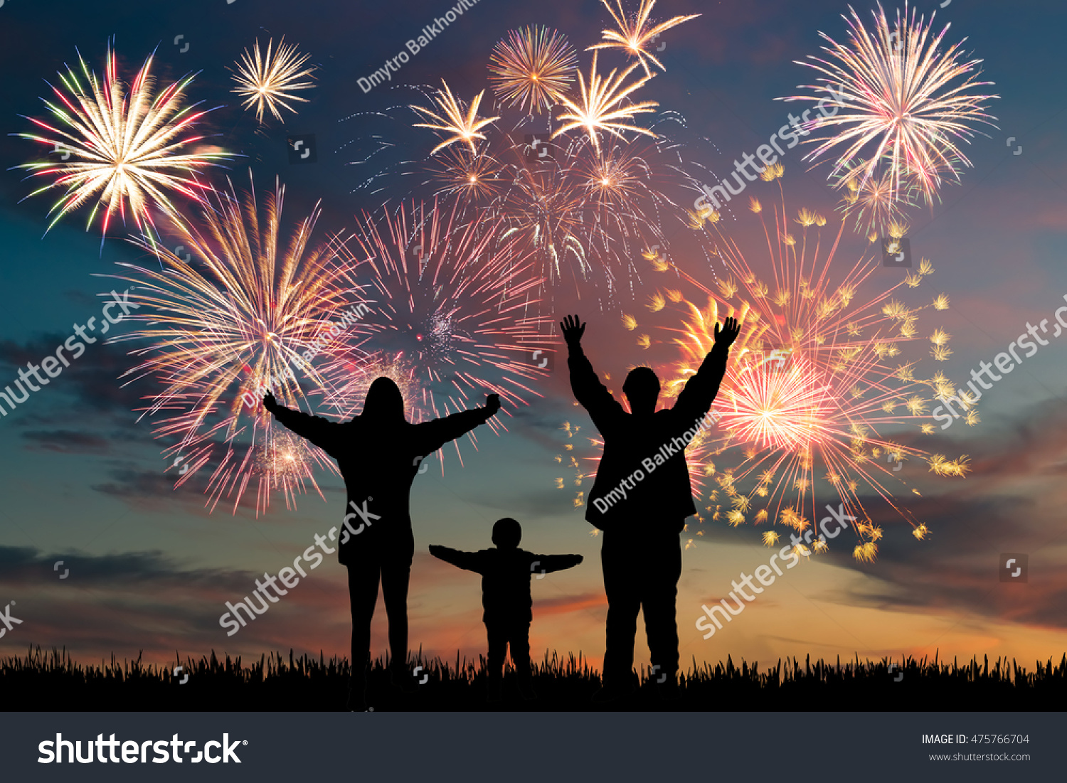Wallpaper Salute Sky Holiday Colorful 3376x4220: Happy Family Look Holiday Fireworks Sky Stock Photo