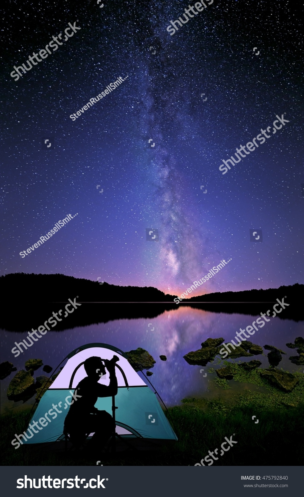 A photographer beside a glowing tent on a lakeshore with The Milky Way shining down from : glowing tent - memphite.com