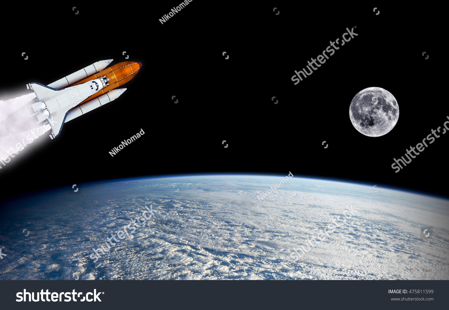 Shuttle rocket spaceship launch rocketship moon stock for Outer space elements