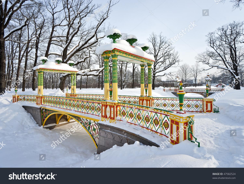 chinese bridges winter park stock photo 47582524 shutterstock