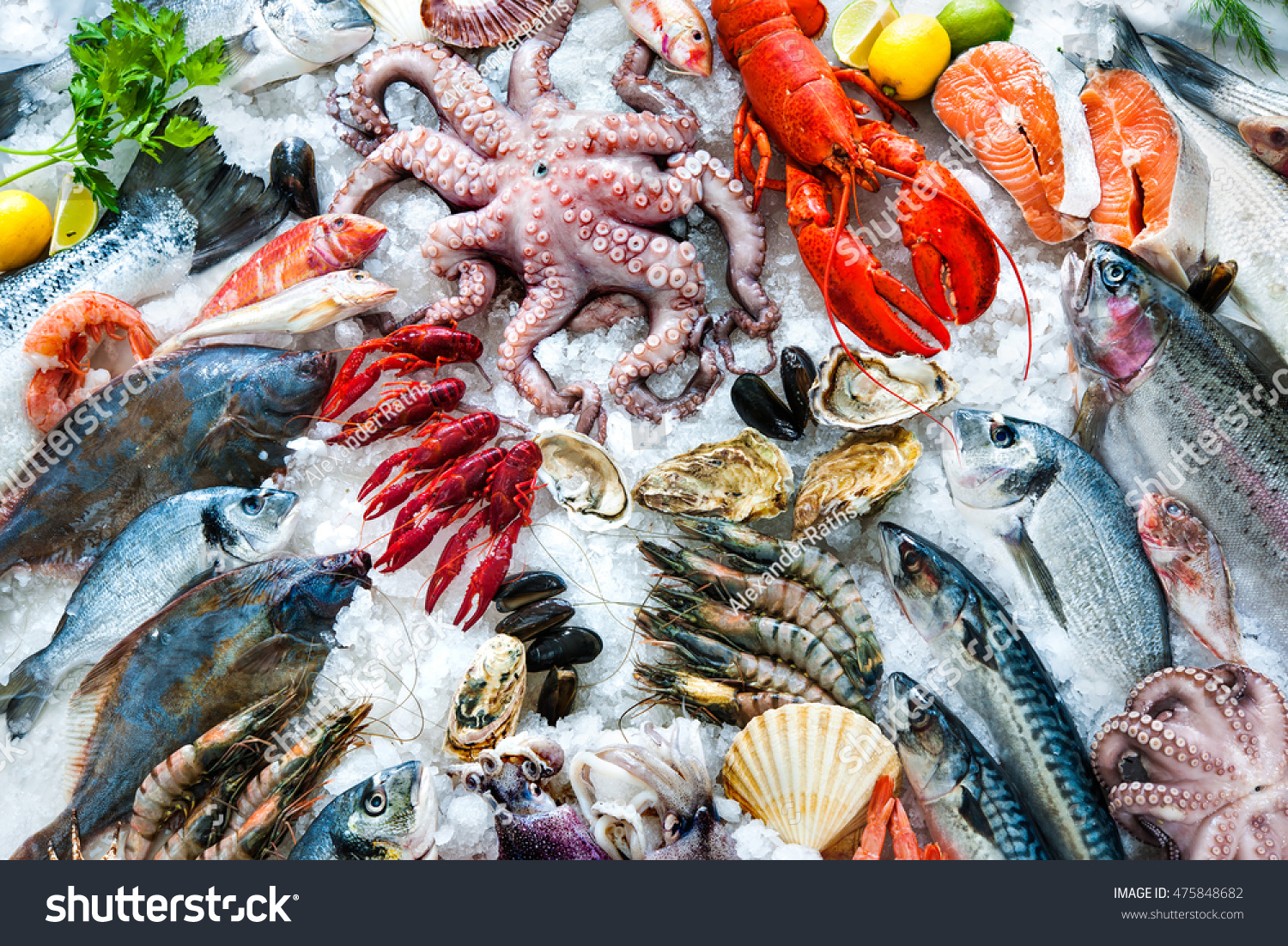 Seafood on ice fish market stock photo 475848682 for City fish market menu