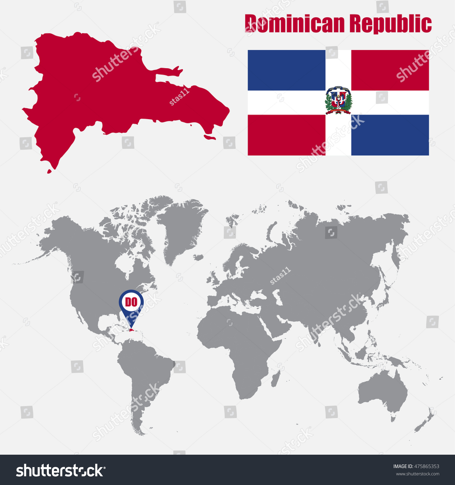 Dominican republic map on world map stock vector hd royalty free dominican republic map on a world map with flag and map pointer vector illustration gumiabroncs Images