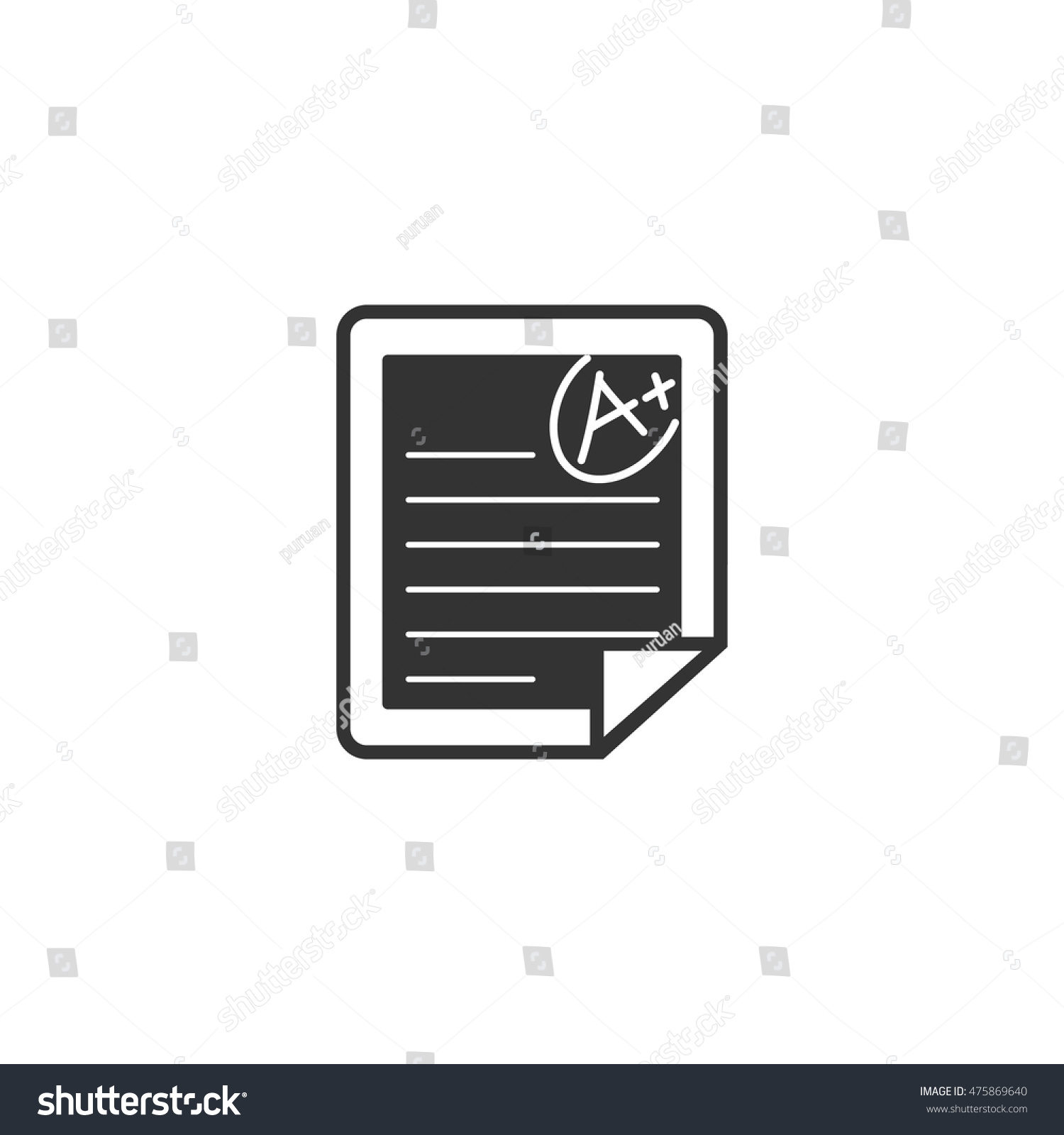 exam result icon single color education stock vector  exam result icon in single color education school student essay paper