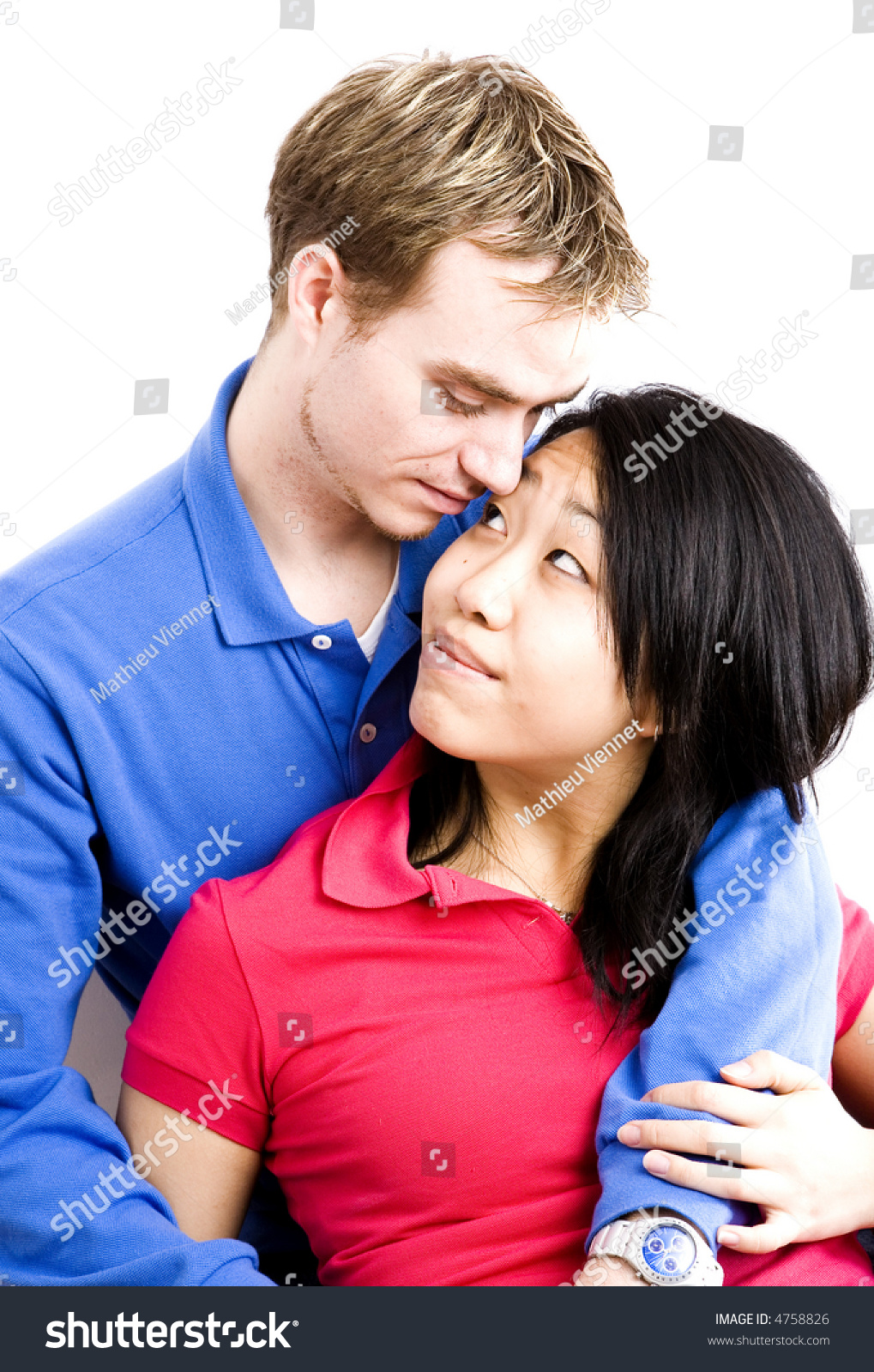 Interacial Complete young interacial couple picture series stock photo 4758826