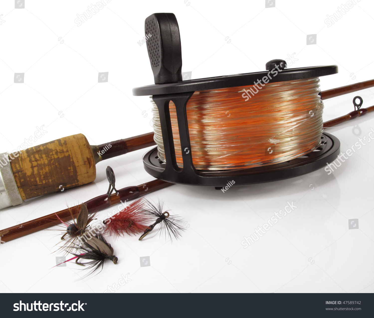Vintage Bamboo Fly Rod Reel Several Stock Photo 47589742