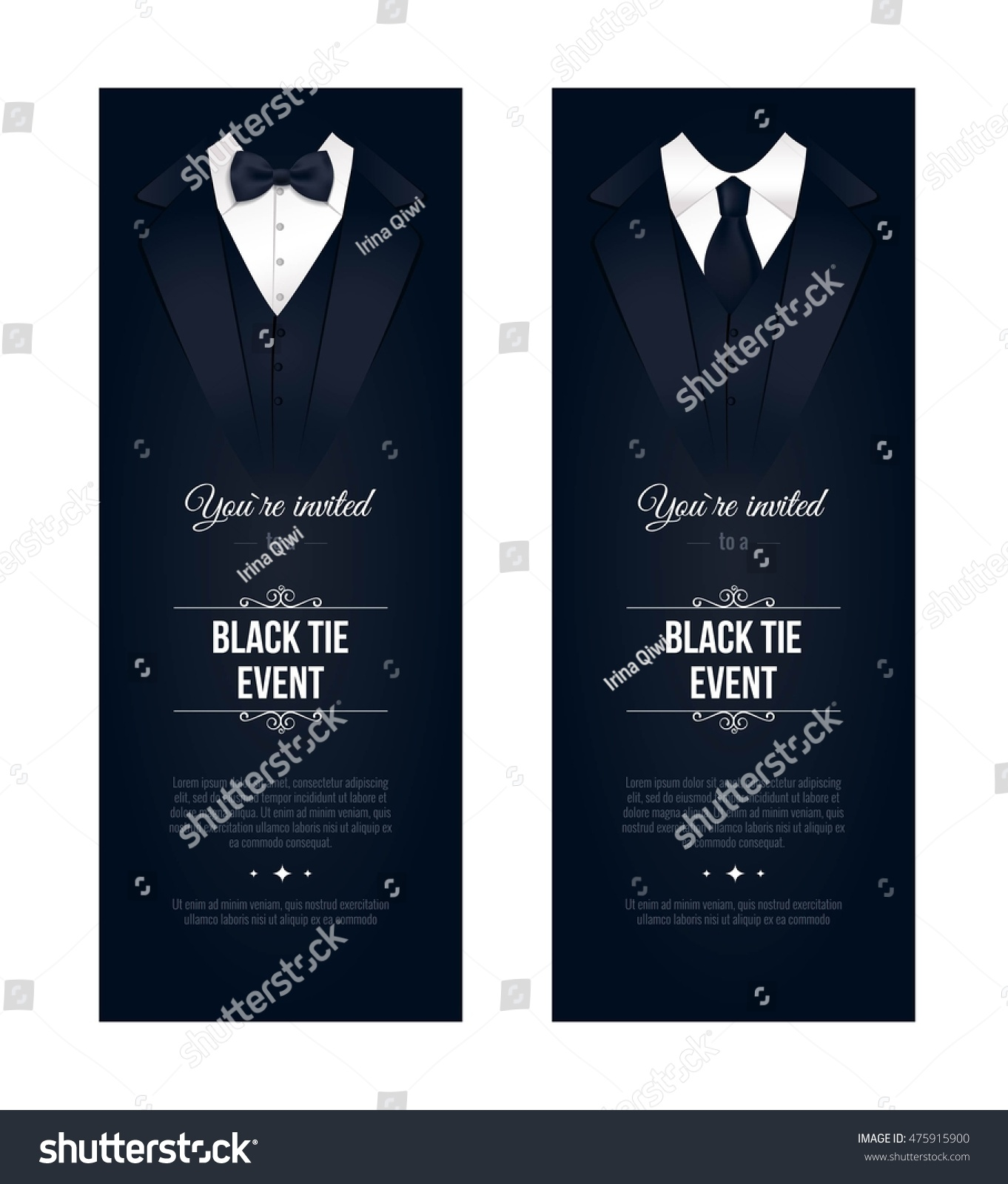 Two vertical Black Tie Event Invitations Businessmen banners Elegant black and white cards Black banners set with businessman suits Vector illustration