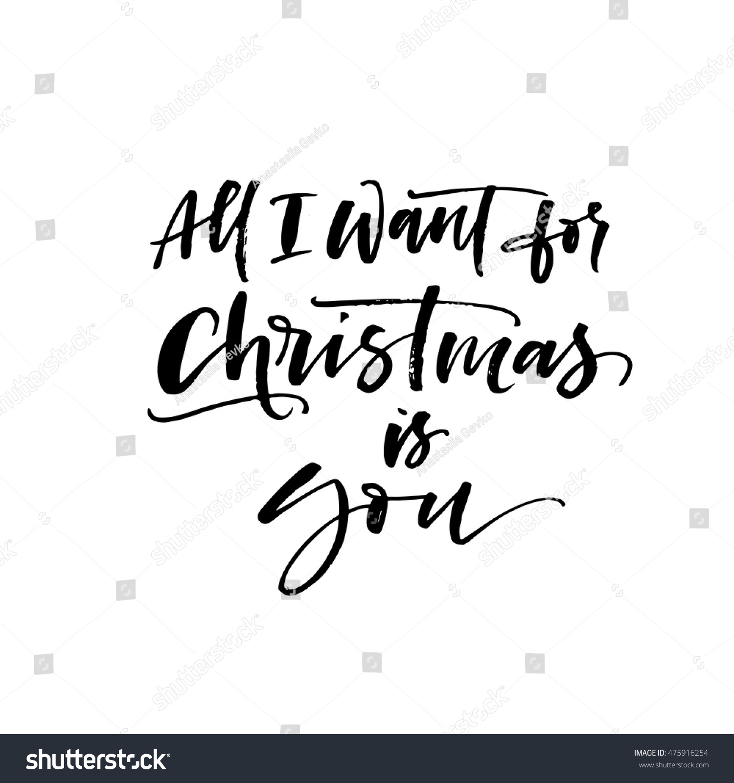 All Want Christmas You Card Hand Stock Vector (Royalty Free ...