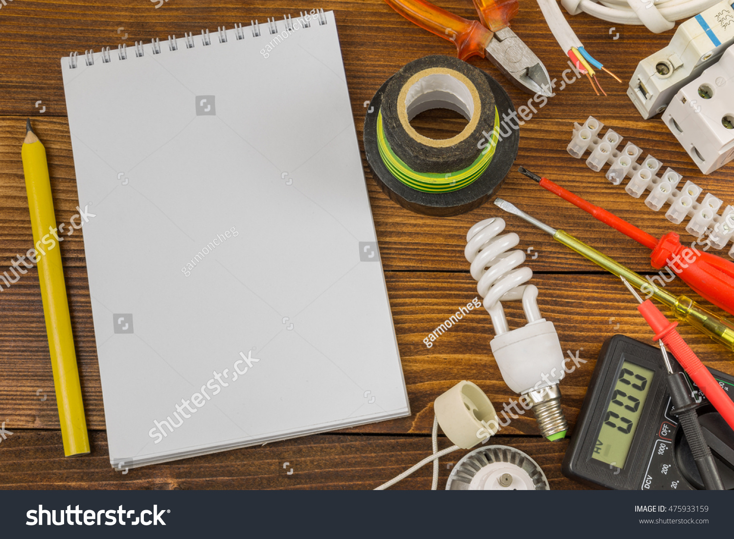 Still life electrical components arranged on stock photo download still life of electrical components arranged on wooden work table greentooth Images