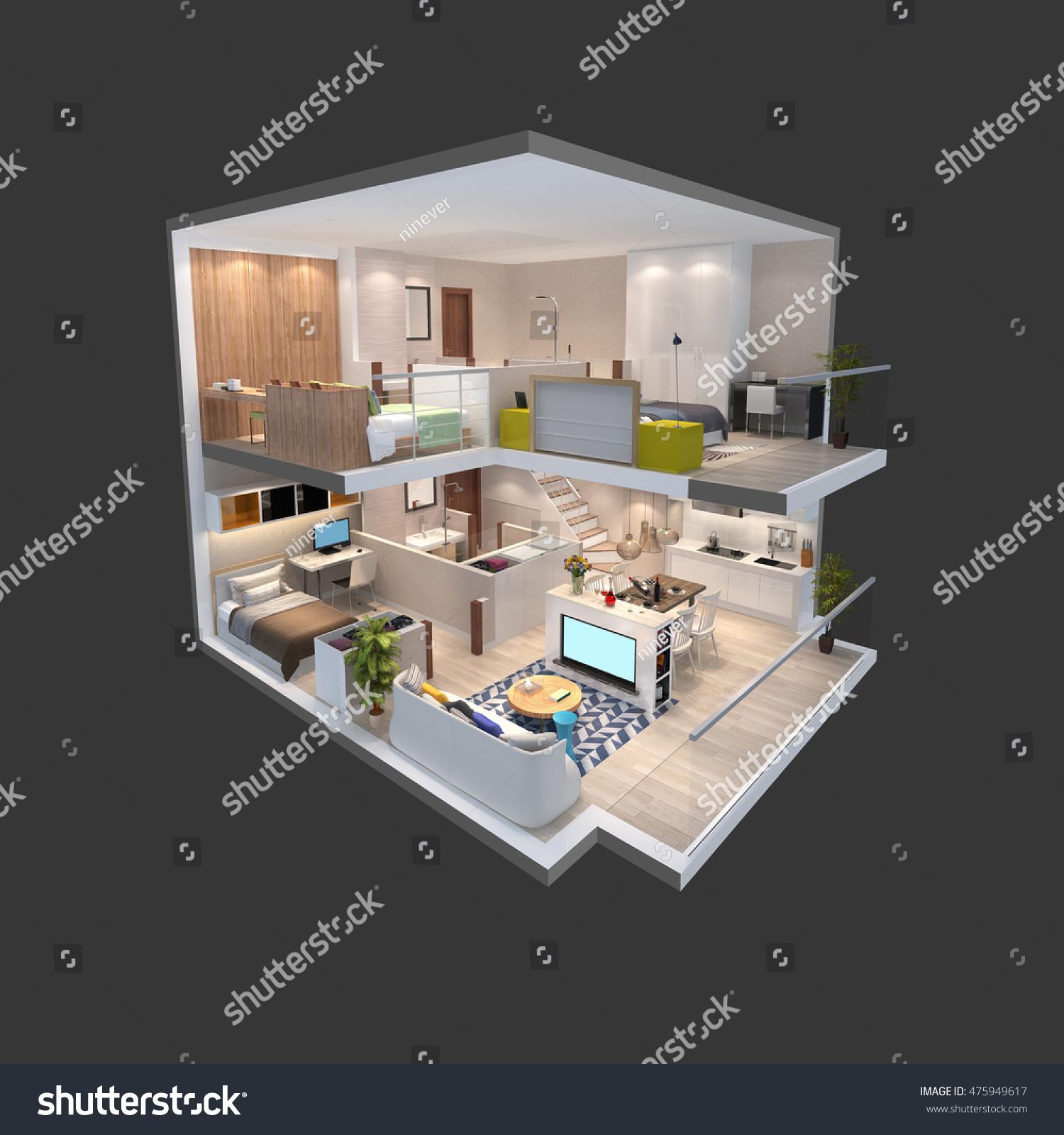 3d Floor Plan Isometric: 3d Illustration Penthouse Isometric Plan Stock