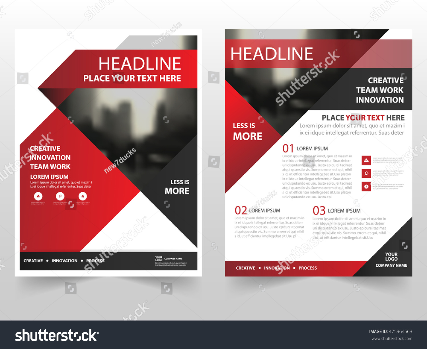 Red black triangle business brochure leaflet stock vector for Black brochure template