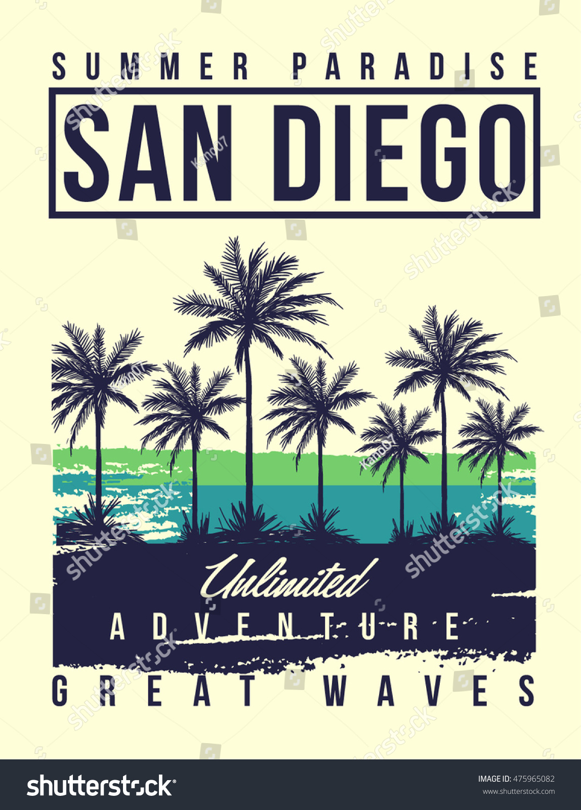 Shirt design san diego - San Diego Typography With Palms Tree Illustration For T Shirt Print Vector Illustration