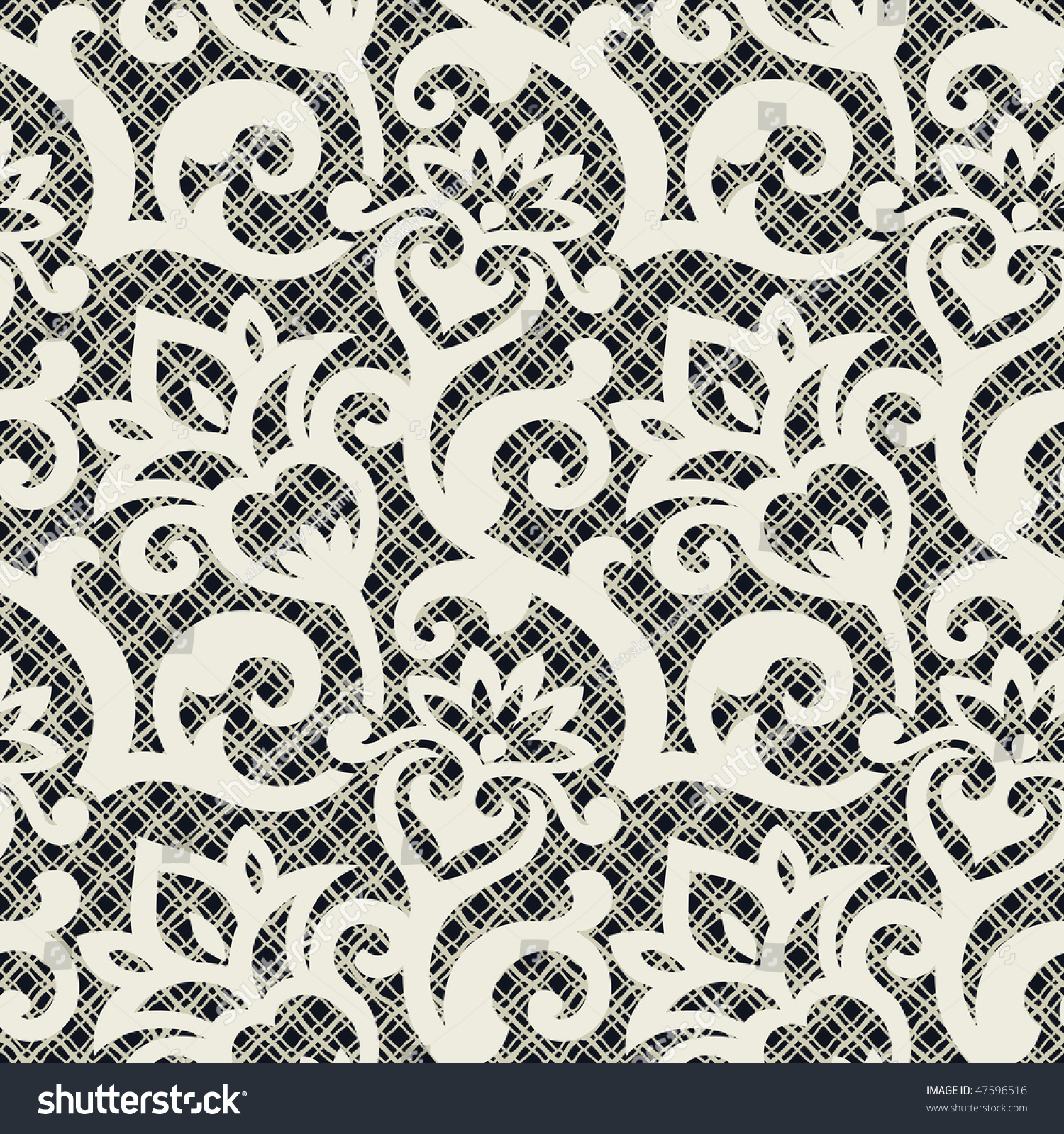Seamless Background Floral Ornament Fashionable Modern 47596516