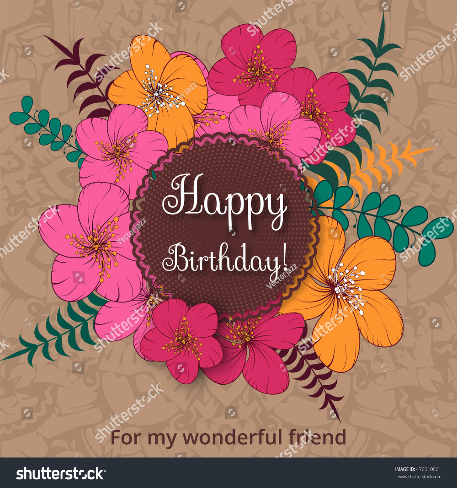 Happy Birthday Card On Decorated Flowers Stock Vector Royalty Free