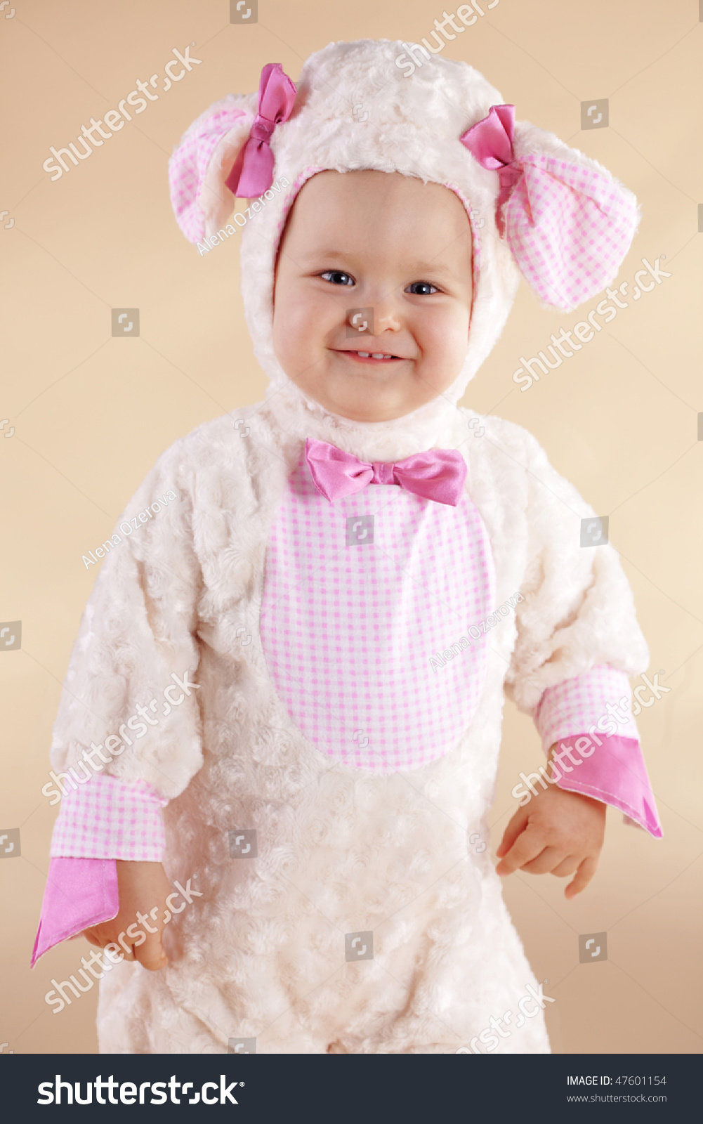 very cute baby wearing sheep costume stock photo (edit now) 47601154