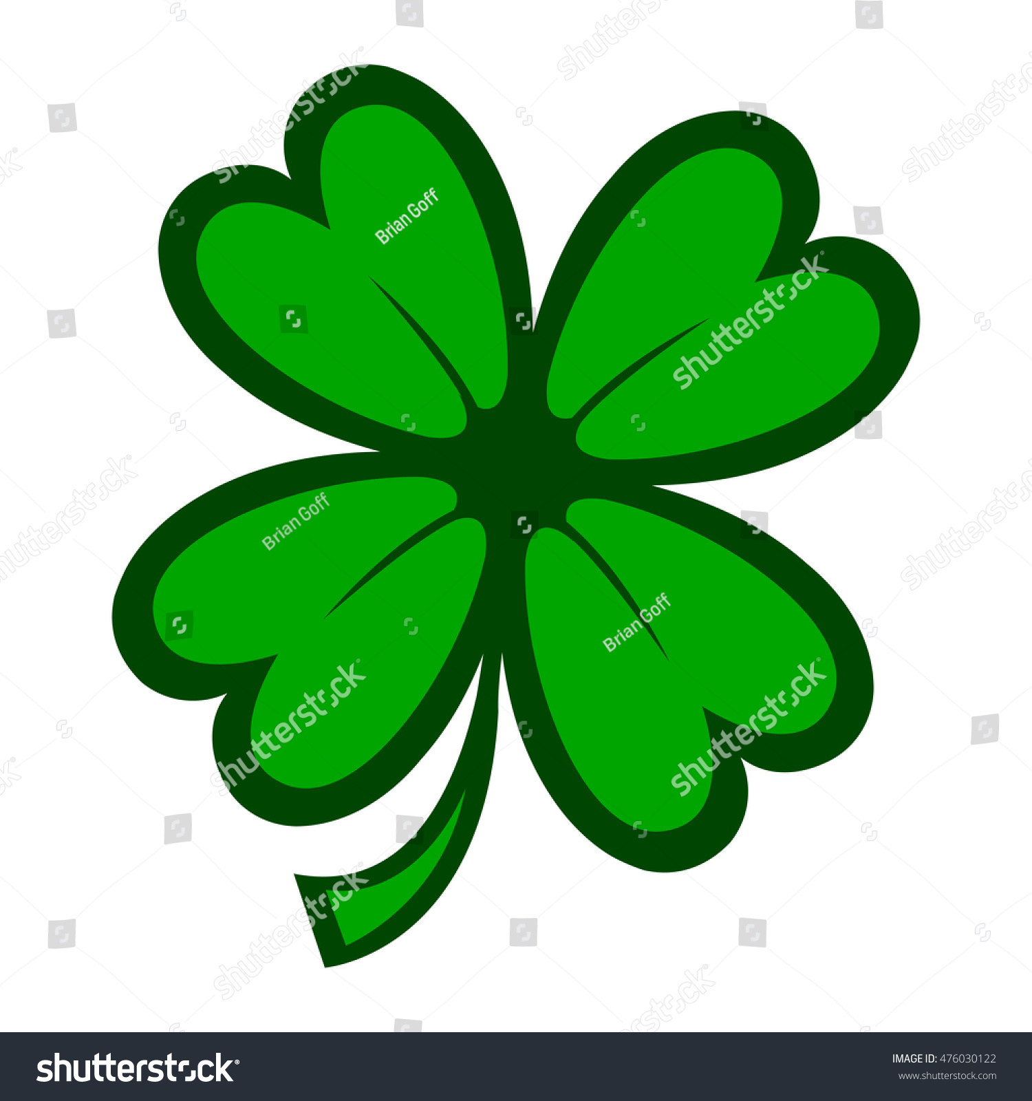 green lucky four leaf irish clover stock illustration 476030122