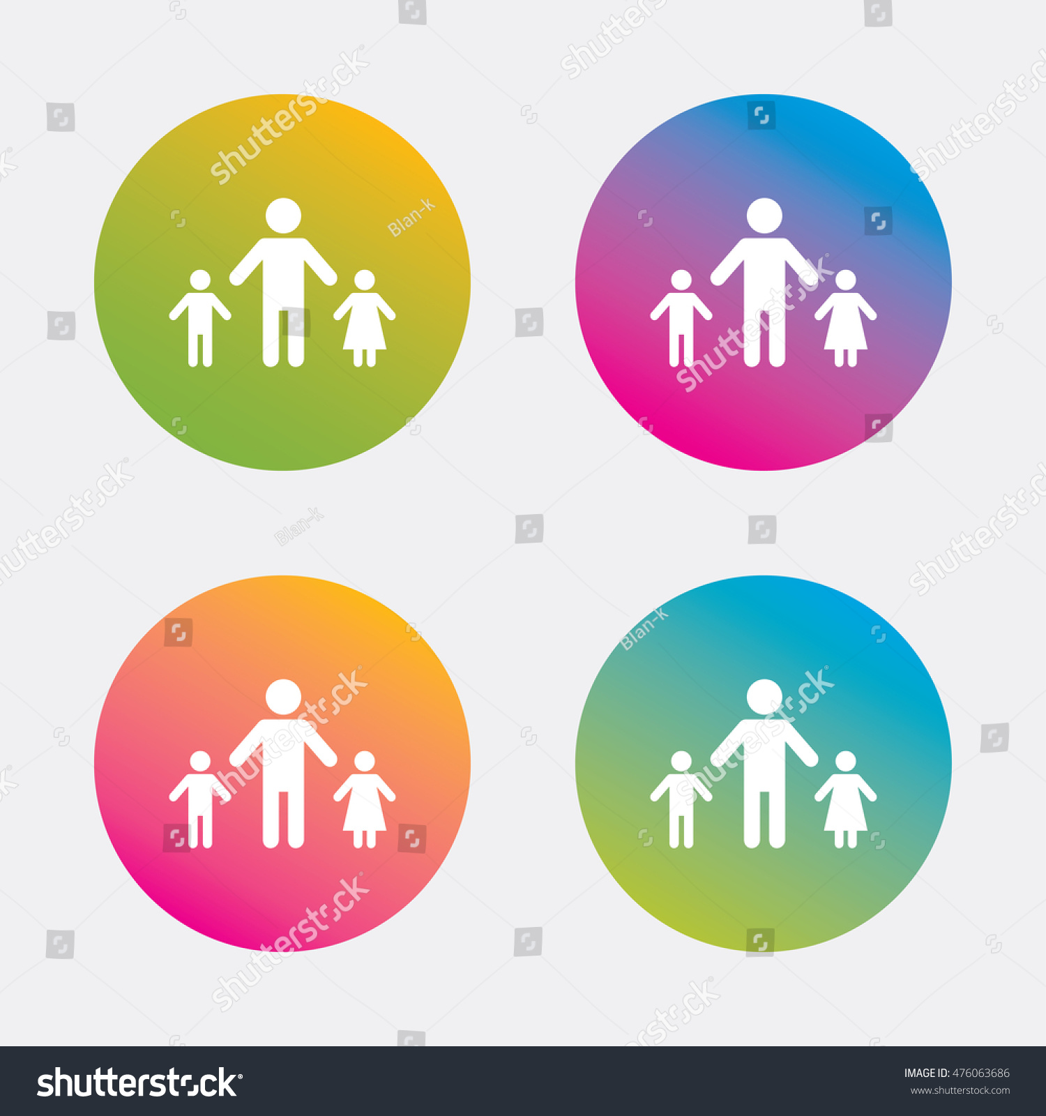 Oneparent family two children sign icon stock vector 476063686 one parent family with two children sign icon father with son and daughter symbol biocorpaavc
