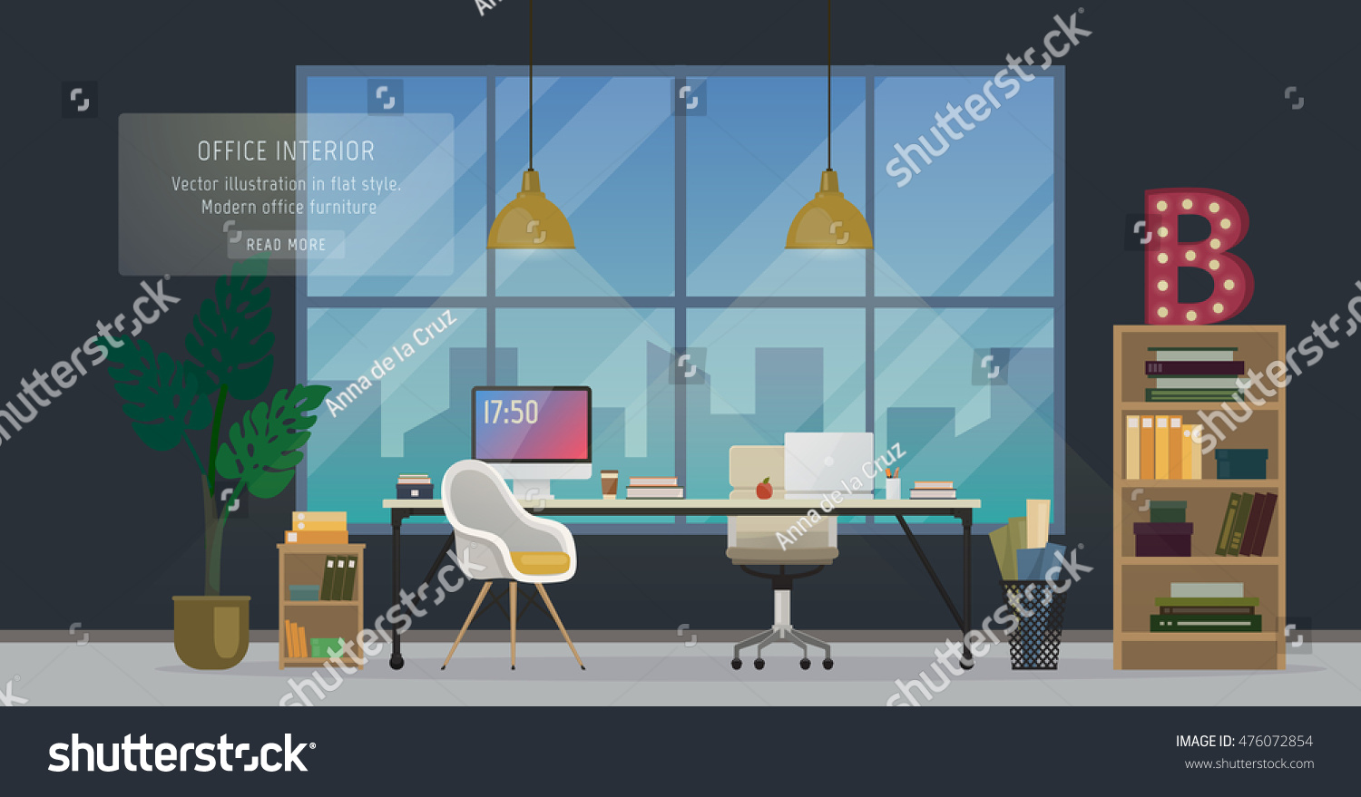 Design modern office designer workplace creative stock for Office design vector