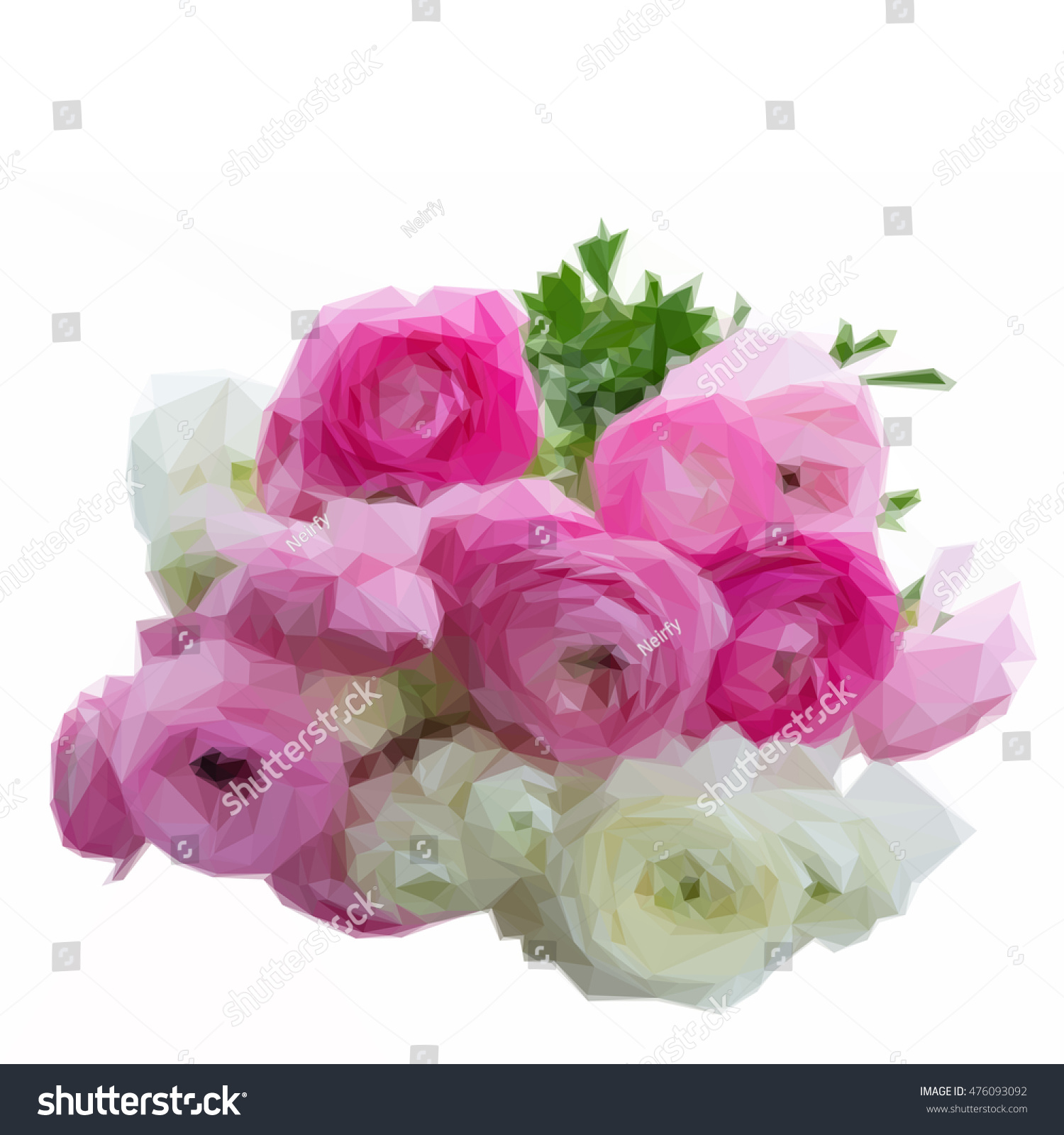 Low Poly Illustration Pile Of Pink And White Ranunculus Flowers Ez