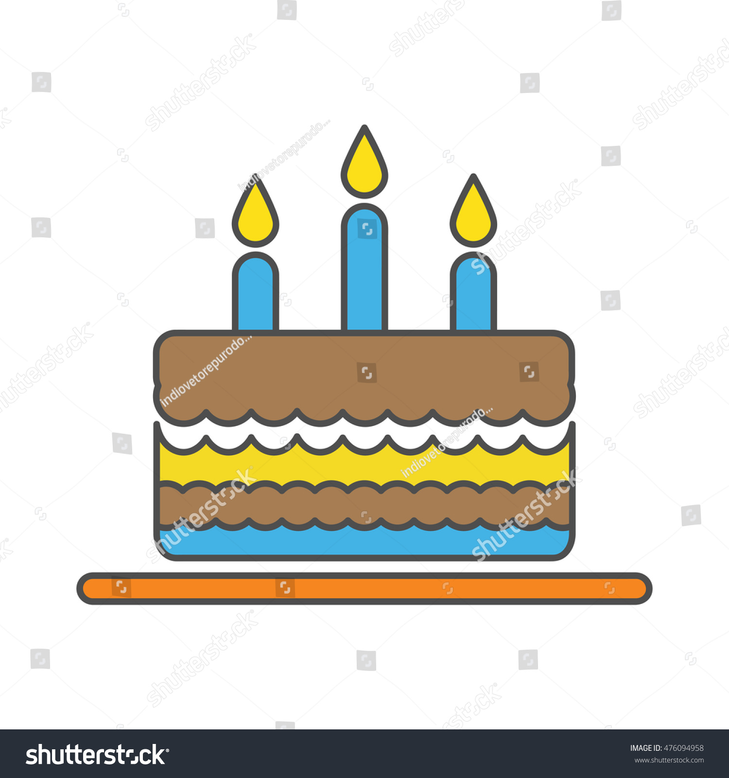 Birthday Cake Three Candles Stock Vector Royalty Free 476094958