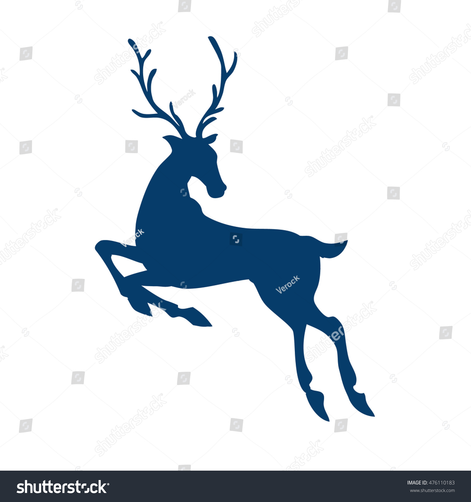 silhouette of running deer isolated on white background side view art raster illustration