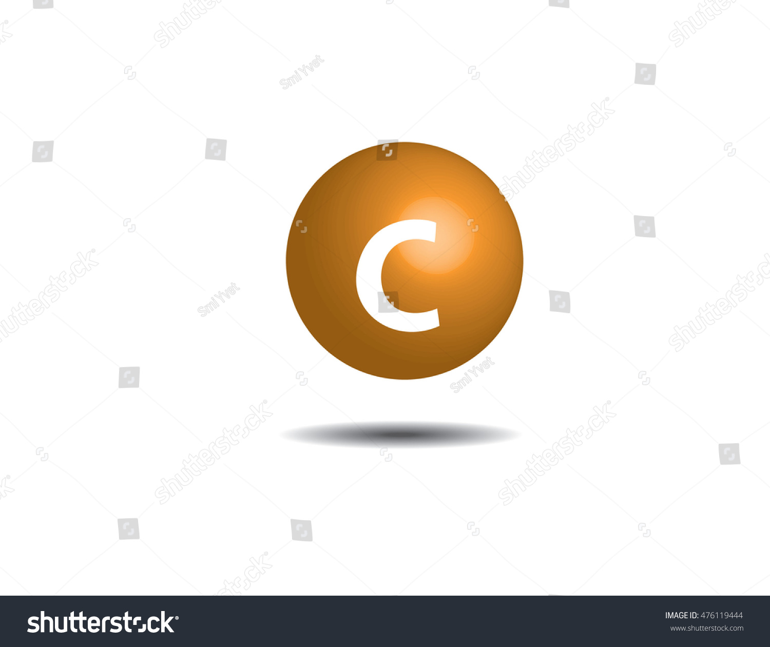 Symbol Vitamin C Isolated On White Stock Vector Royalty Free