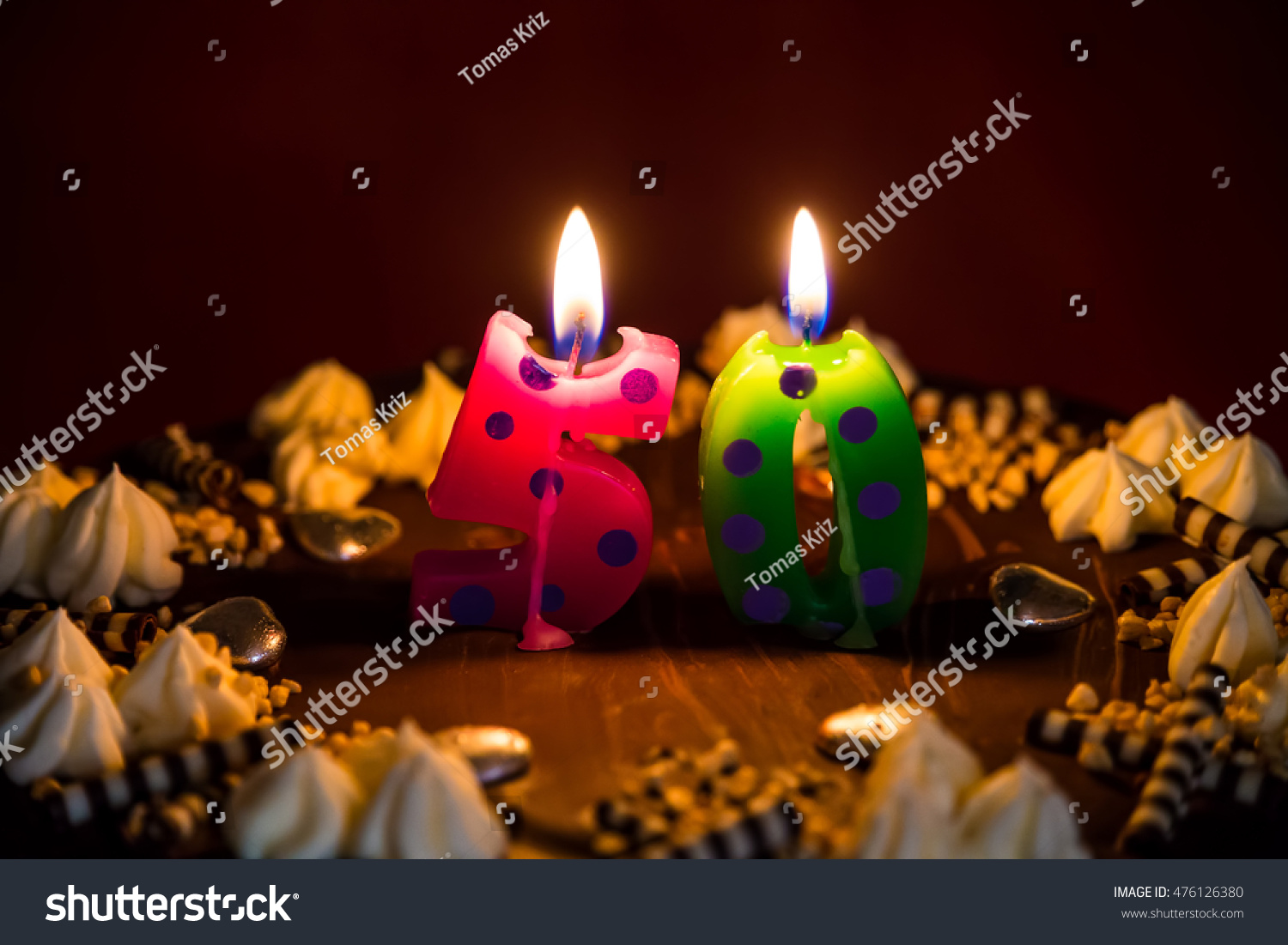 50 Birthday Cake Lit Candles Stock Photo Royalty Free 476126380