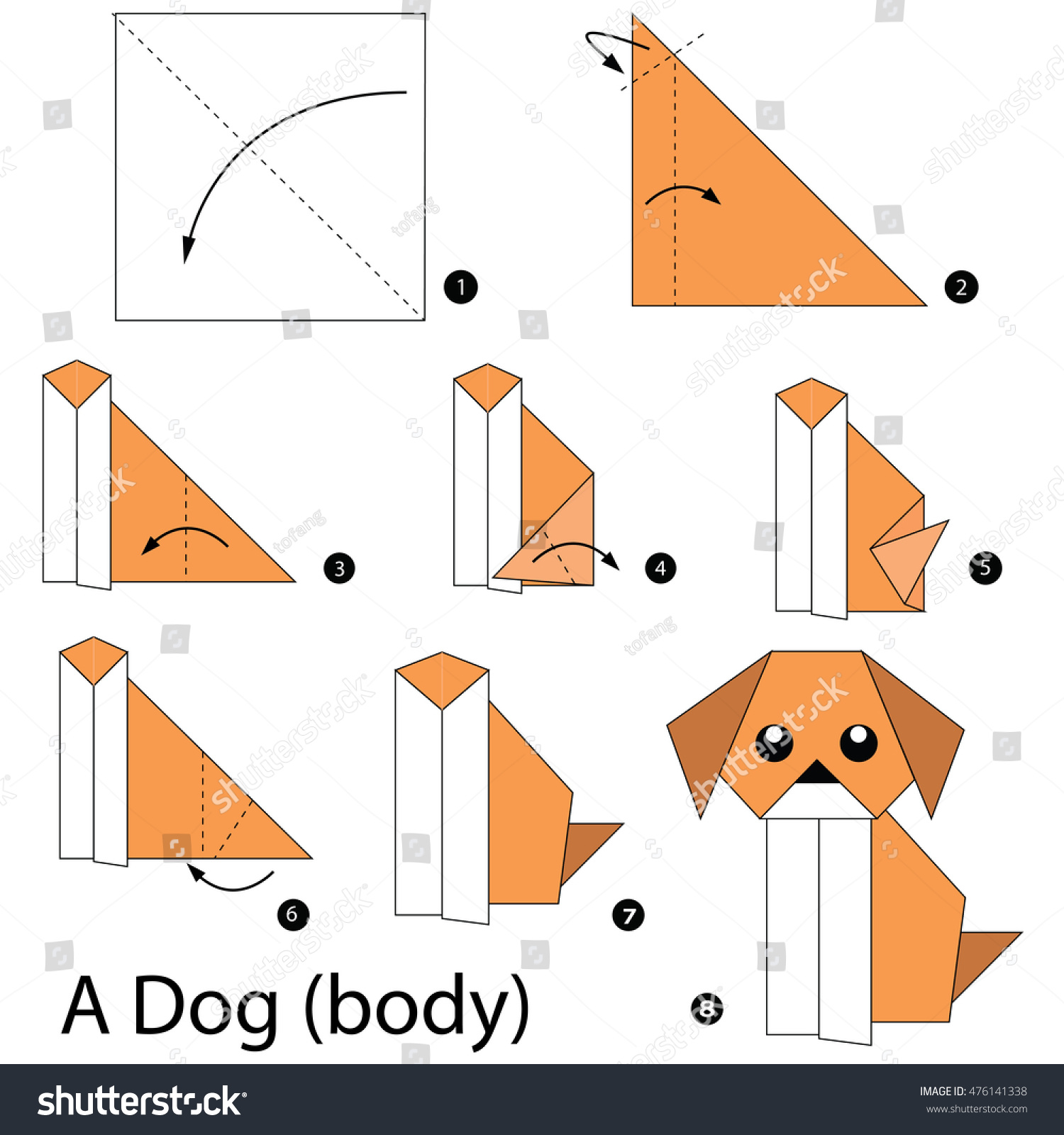 Step By Instructions How To Make Origami A Dogbody