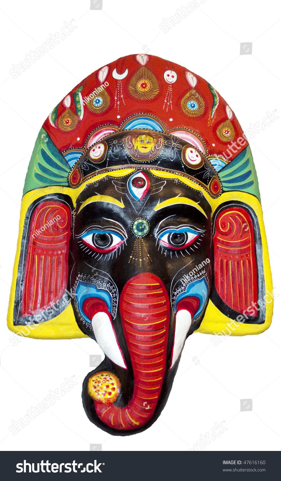 tribal mask wooden mask hindu god stock photo 47616160