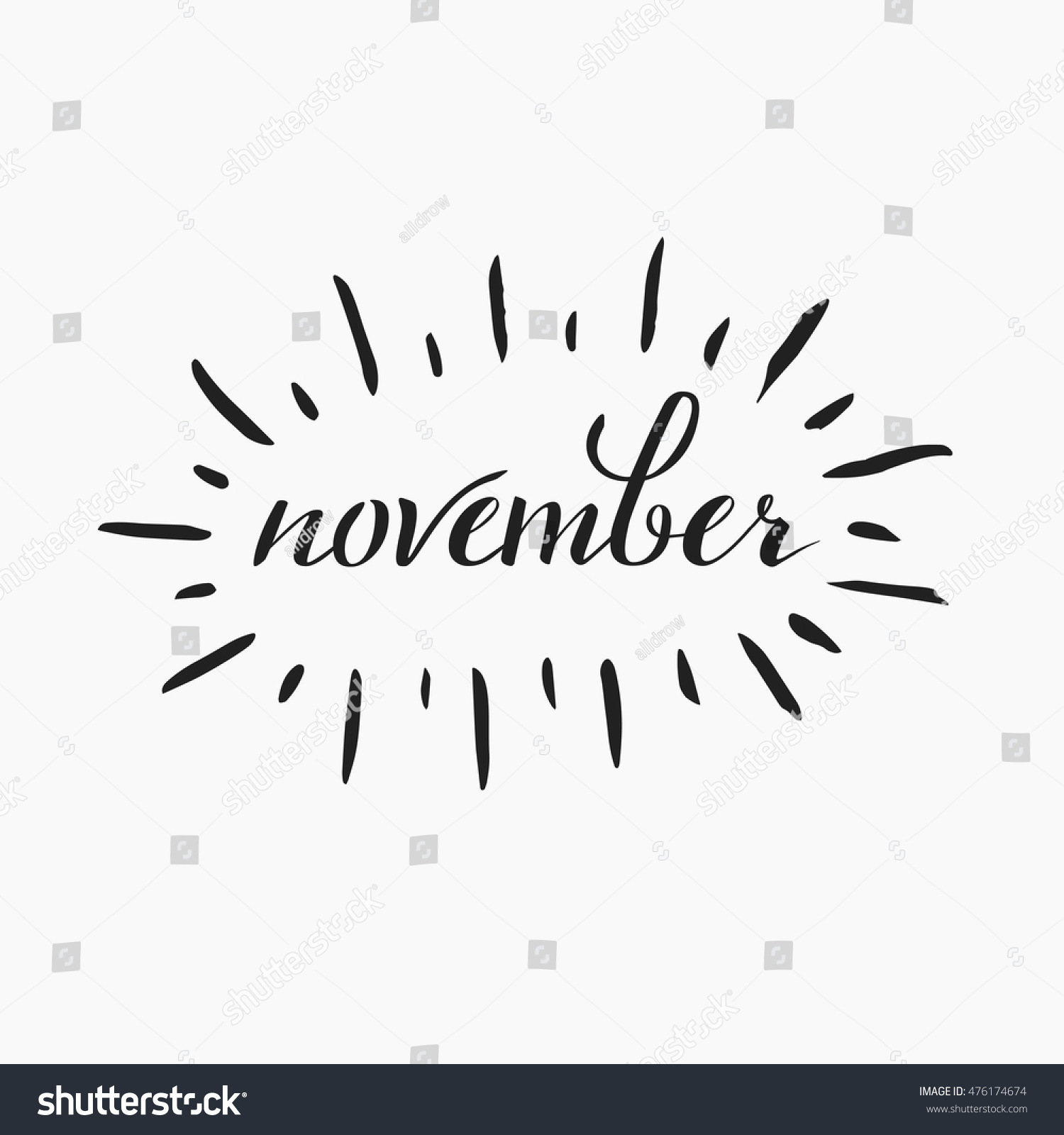 Brushpen lettering november autumn month calligraphy stock