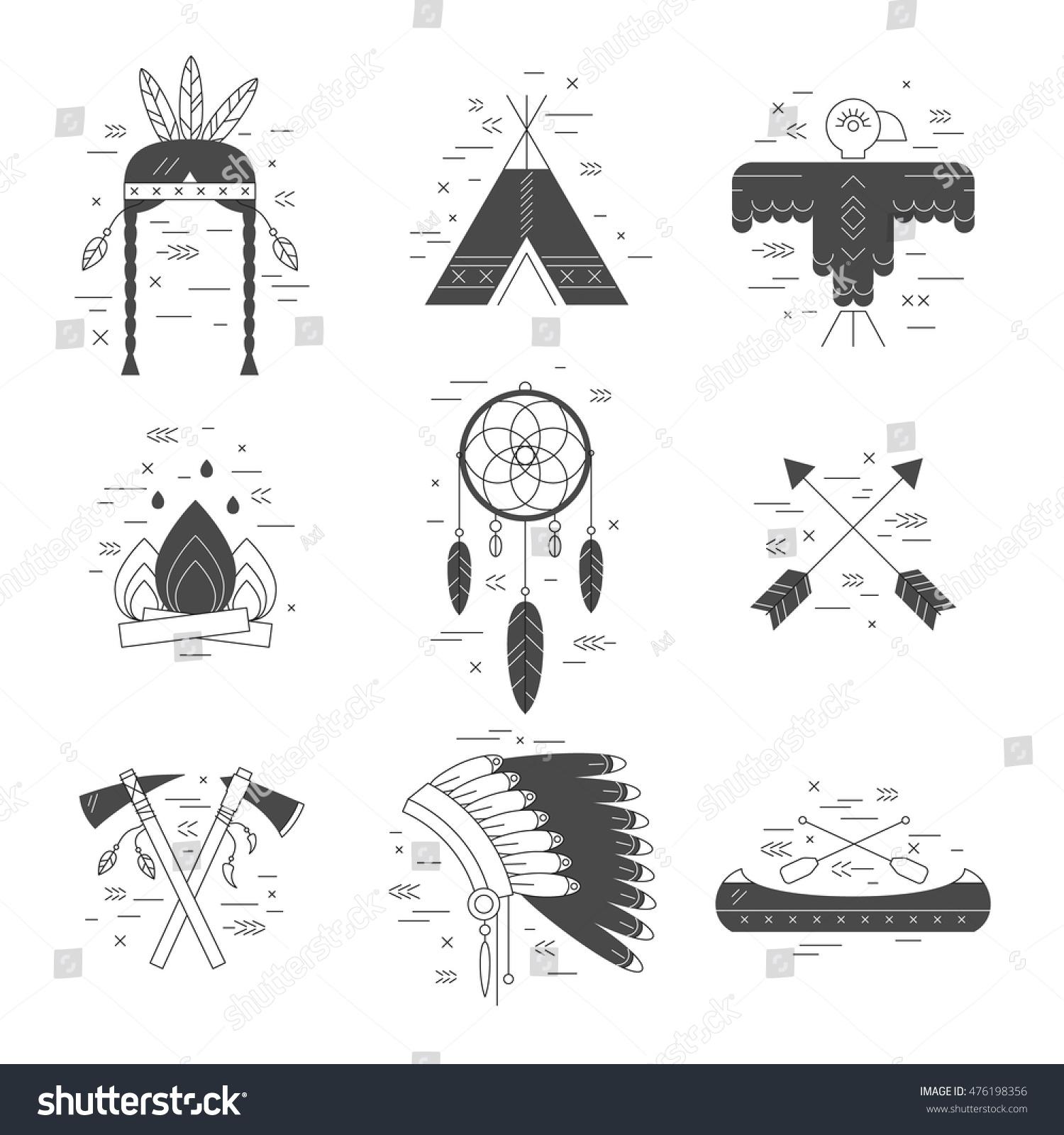 Native American Vector Elements Concept Black Stock Vector Royalty