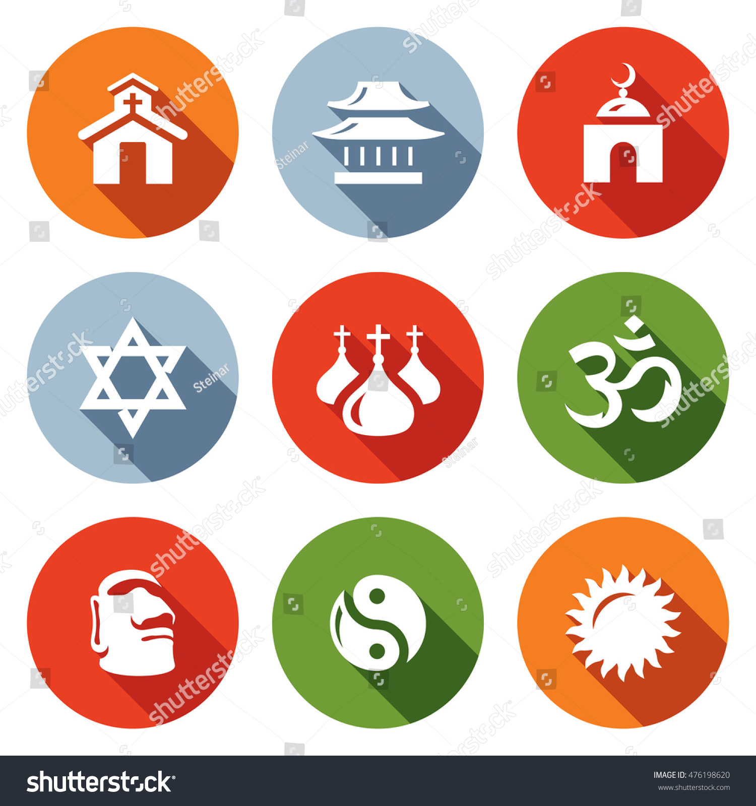 Vector Set of Religion Icons Catholic Buddhism Islam Judaism