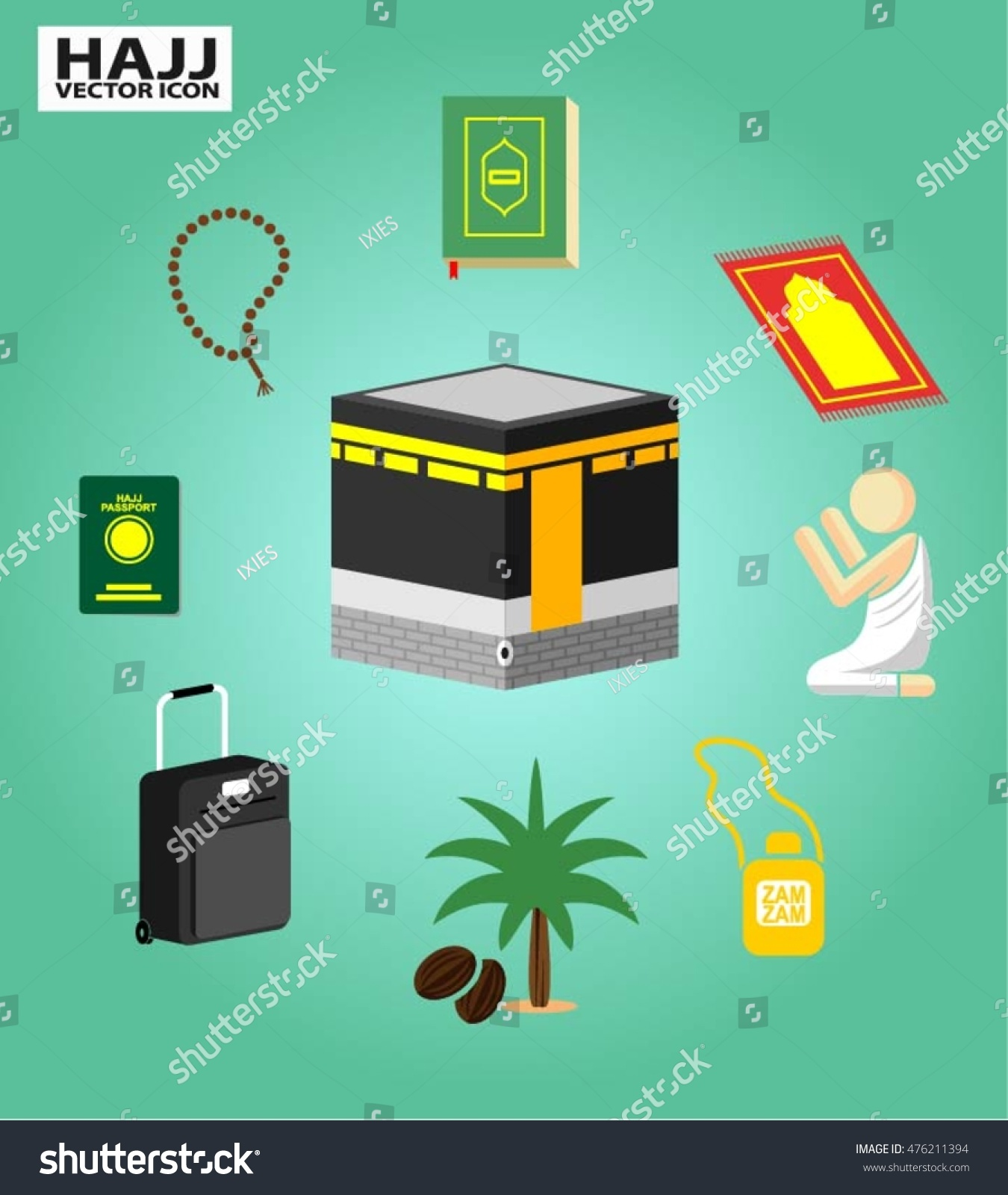 hajj vector icon isolated