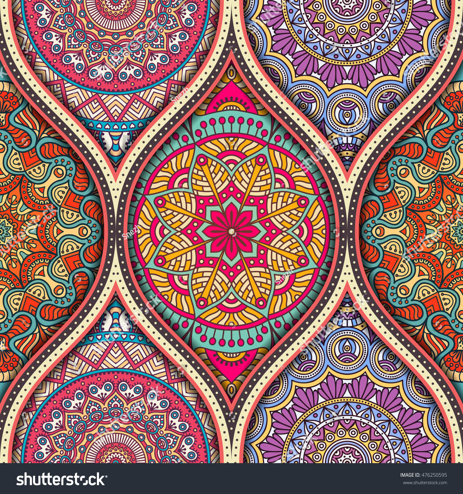 Seamless Pattern Tile Mandalas Vintage Decorative Stock