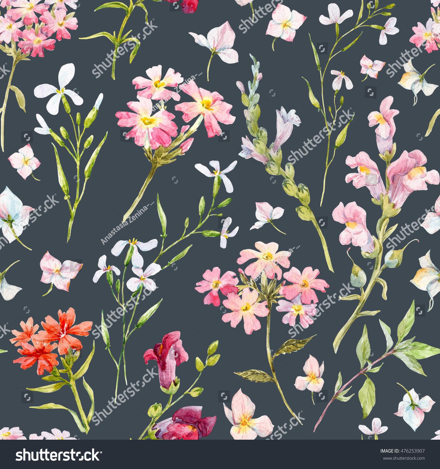 Royalty free stock illustration of watercolor floral pattern watercolor floral pattern delicate flower wallpaper wildflowers pink retroblack background mightylinksfo