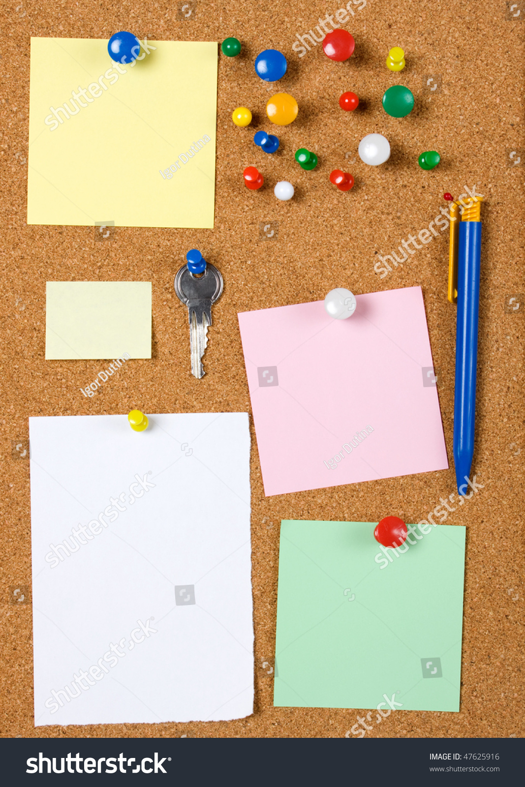 blank memo notes pinned on cork notice board stock photo 47625916 save to a lightbox