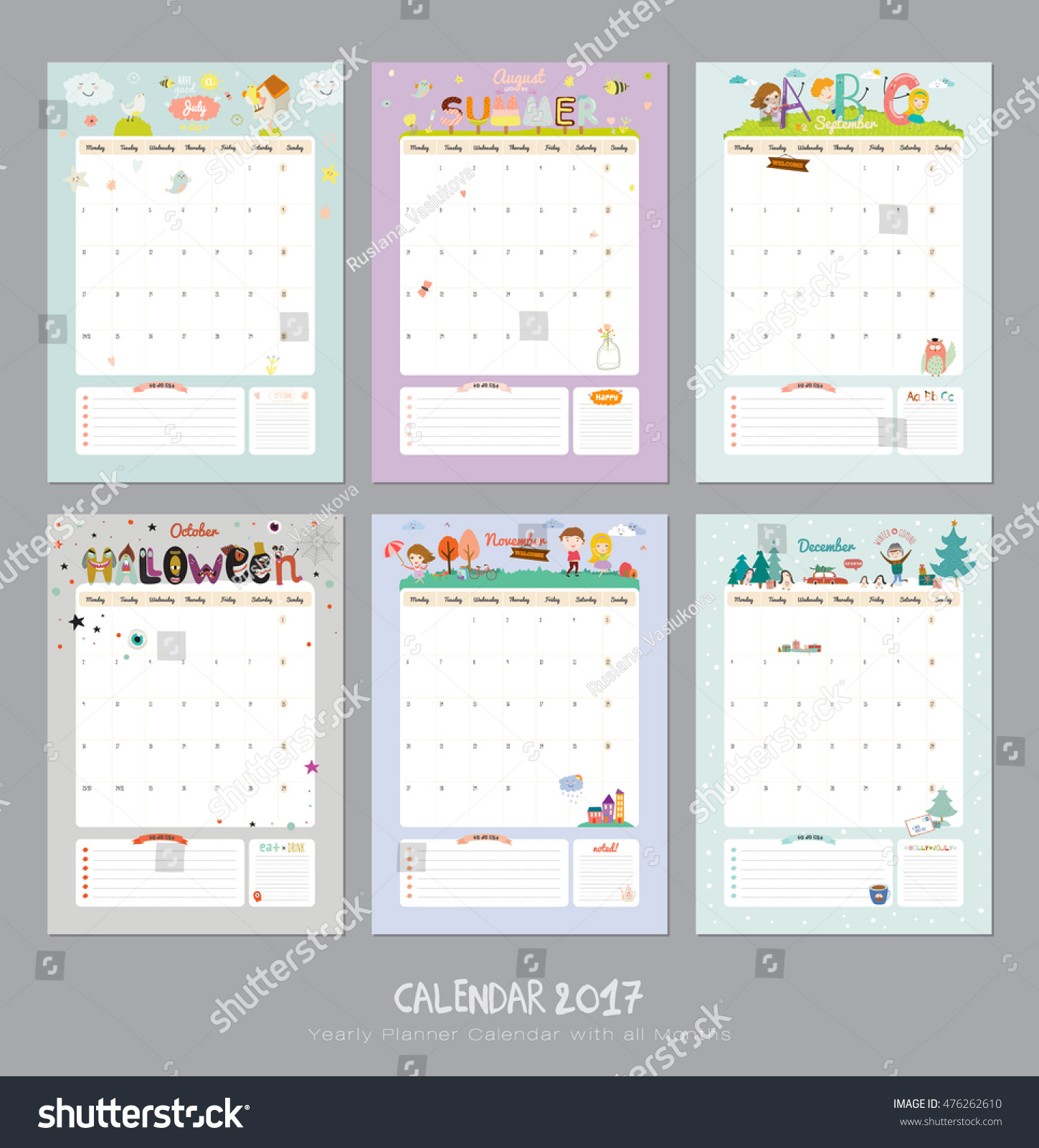 Calendar All Months : Cute calendar template yearly planner stock vector