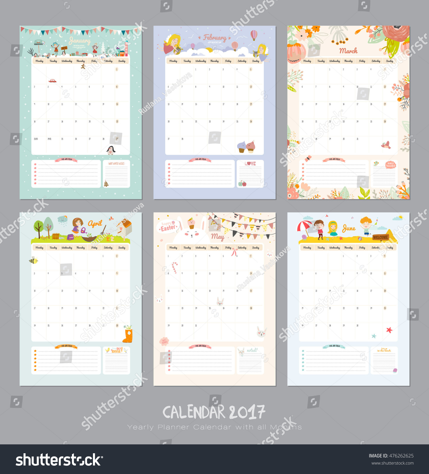 Cute Calendar Template 2017 Yearly Planner Stock-Vektorgrafik ...