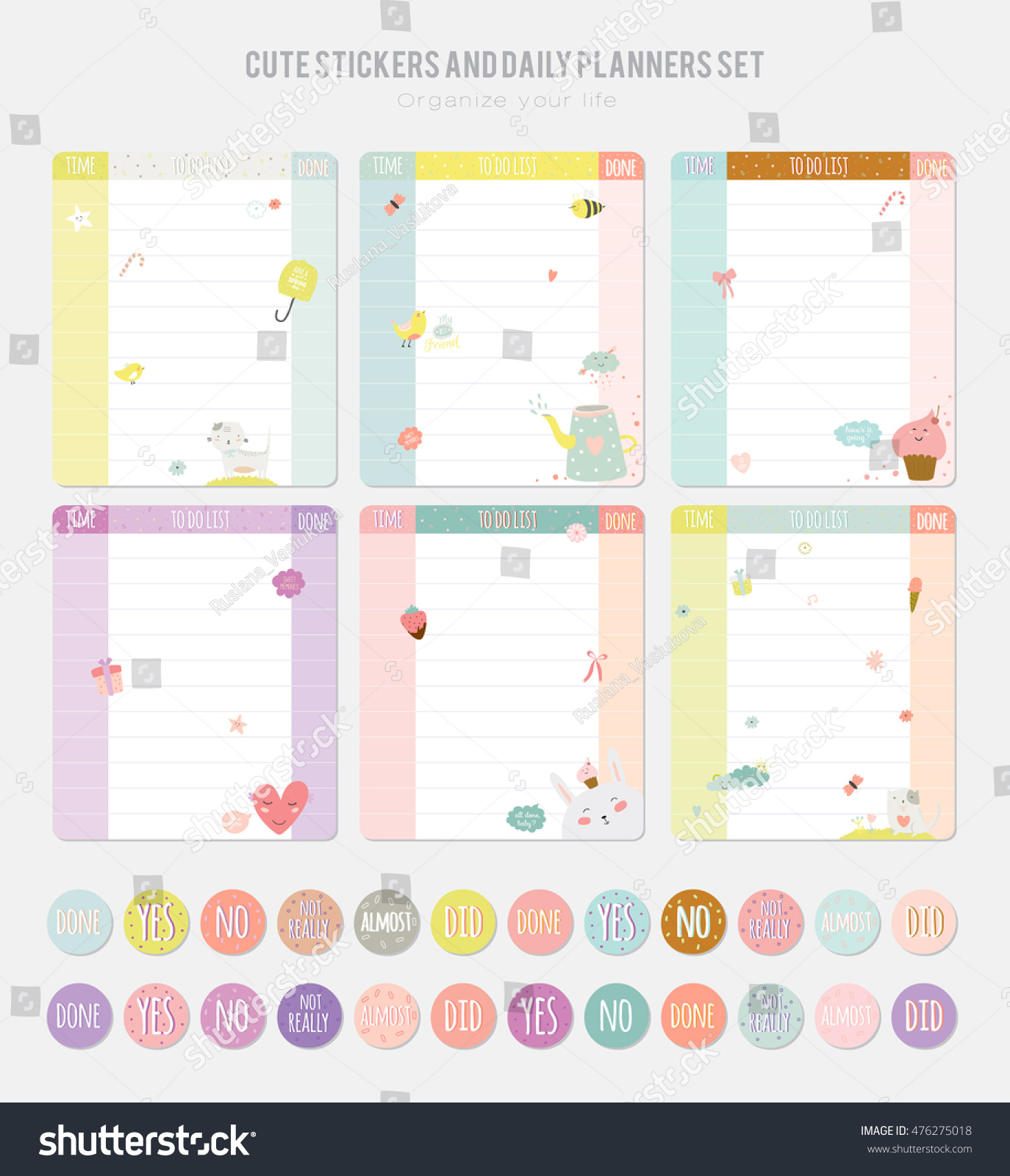 Cute Daily Calendar Template. Note Paper And Stickers Set With Vector Funny  Animals Illustrations.  Daily Calendar Template