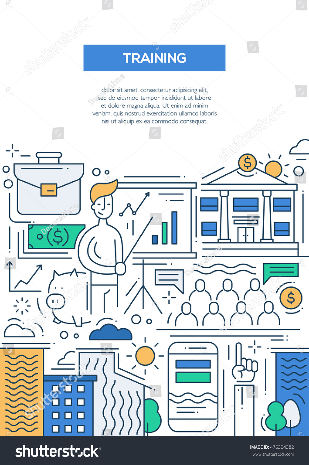 business training line design brochure poster stock illustration