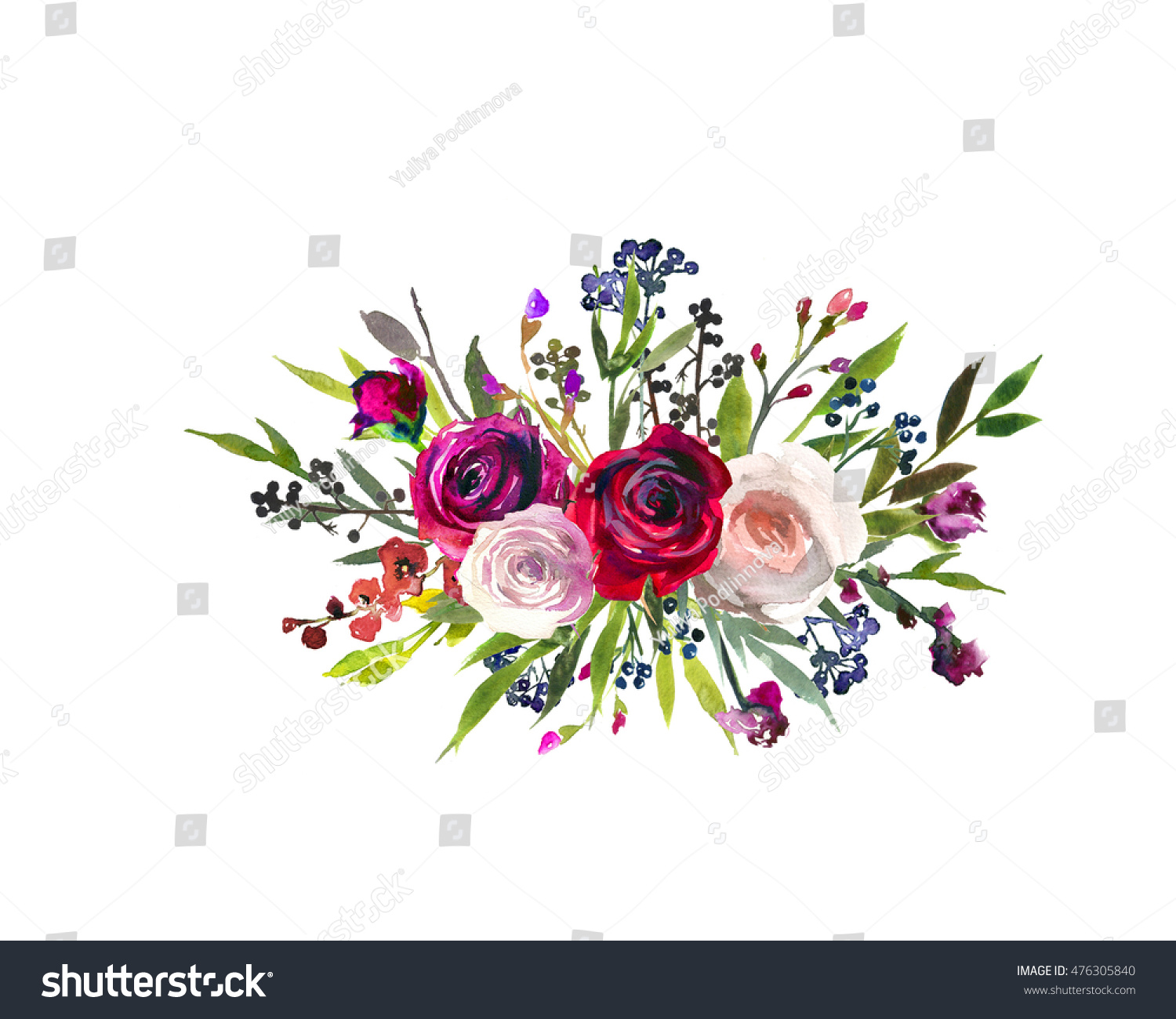 Royalty-free Floral bouquet burgundy red purple pink… #476305840 ...