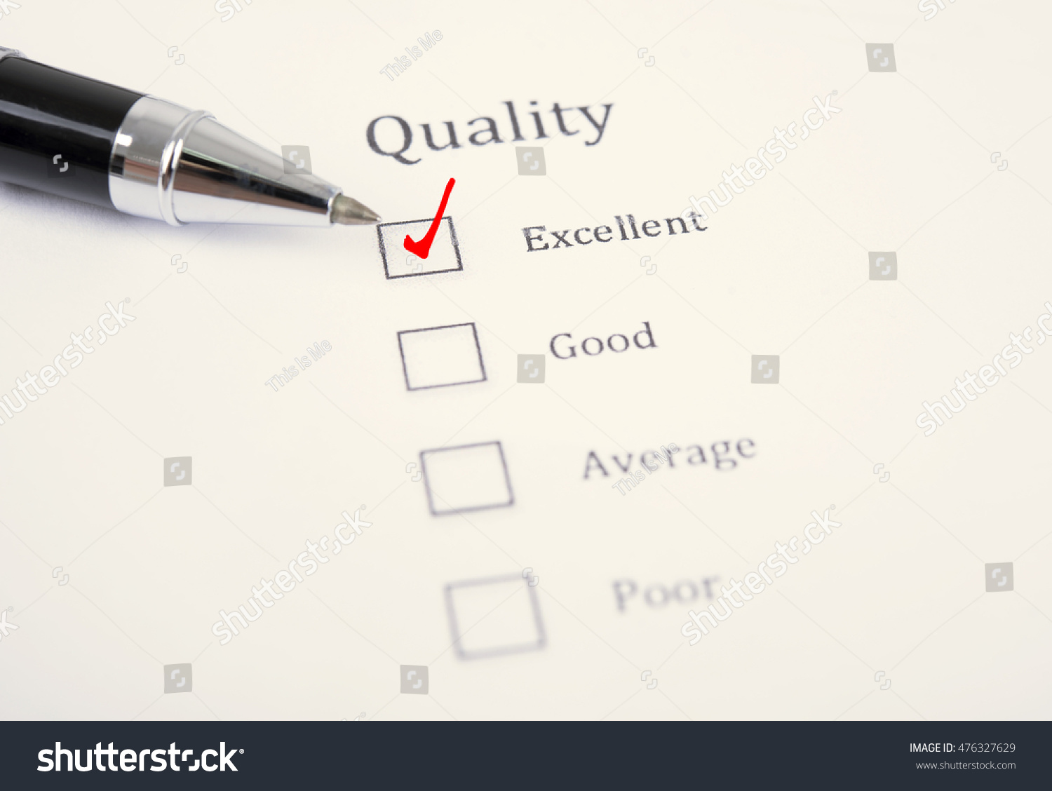 Pen Survey Form Consumer Questionnaire Checkbox Stock Photo (Edit