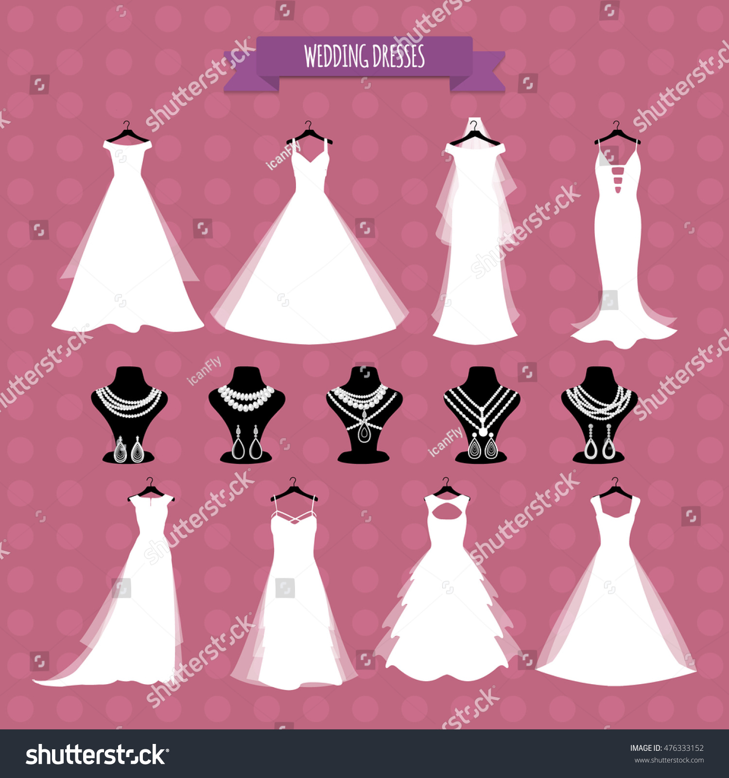 Wedding Dresses Wedding Gown Accessories Set Stock Vector (Royalty ...