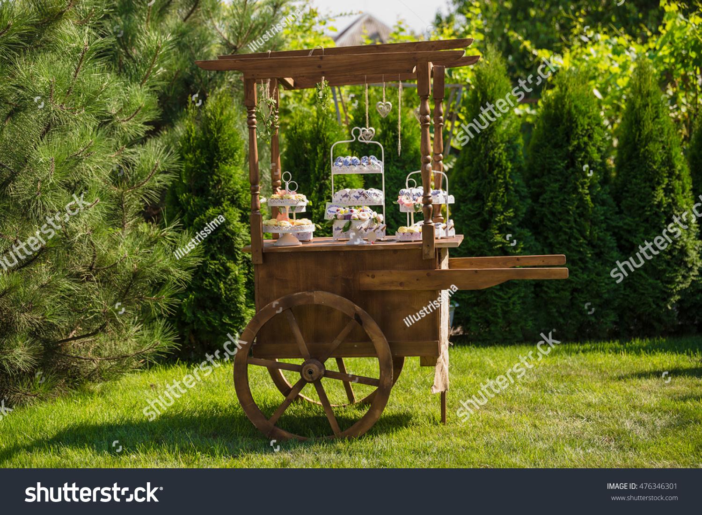 Decorative Wooden Cart Garden Candy Bar Stock Photo (Royalty Free ...