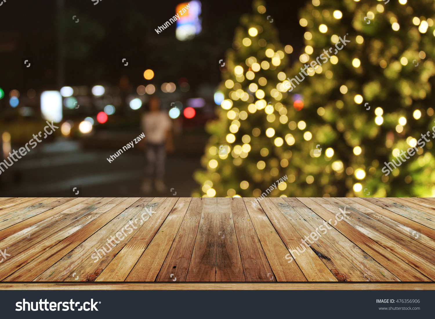 Rustic Wood Table In Front Of Christmas Light Nightabstract Circular Bokeh Background 476356906