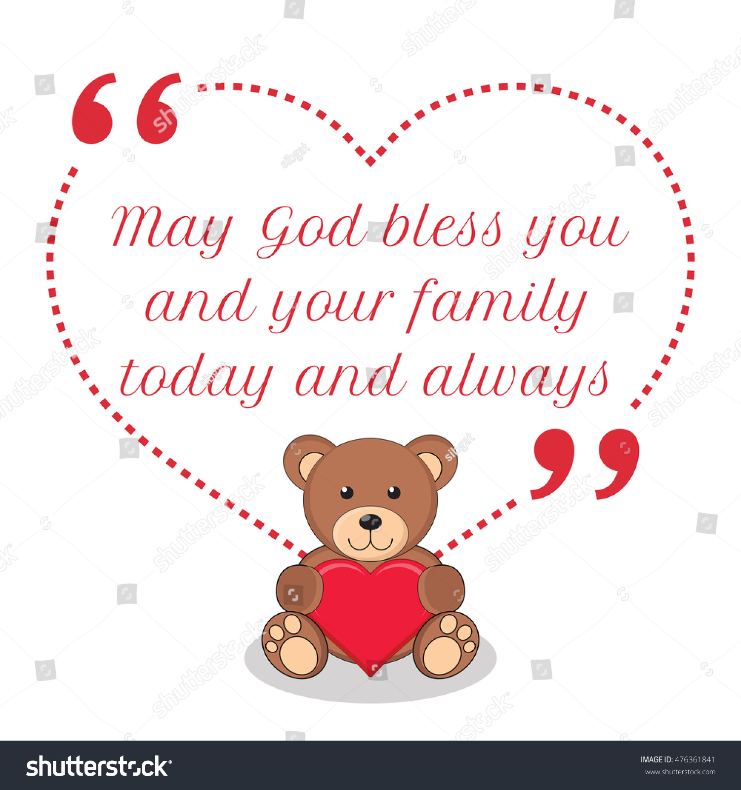 Family Love Quotes Images Inspirational Love Quote May God Bless Stock Illustration