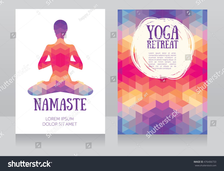 Cards Template Yoga Retreat Yoga Studio Stock Vector Royalty Free