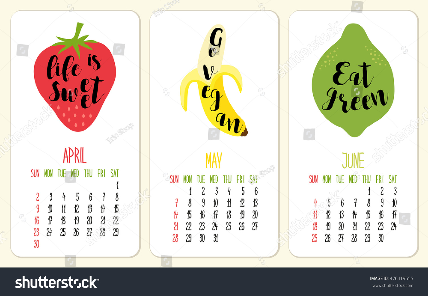 Cute 2017 Calendar Pages Fruits Lettering Stock Illustration