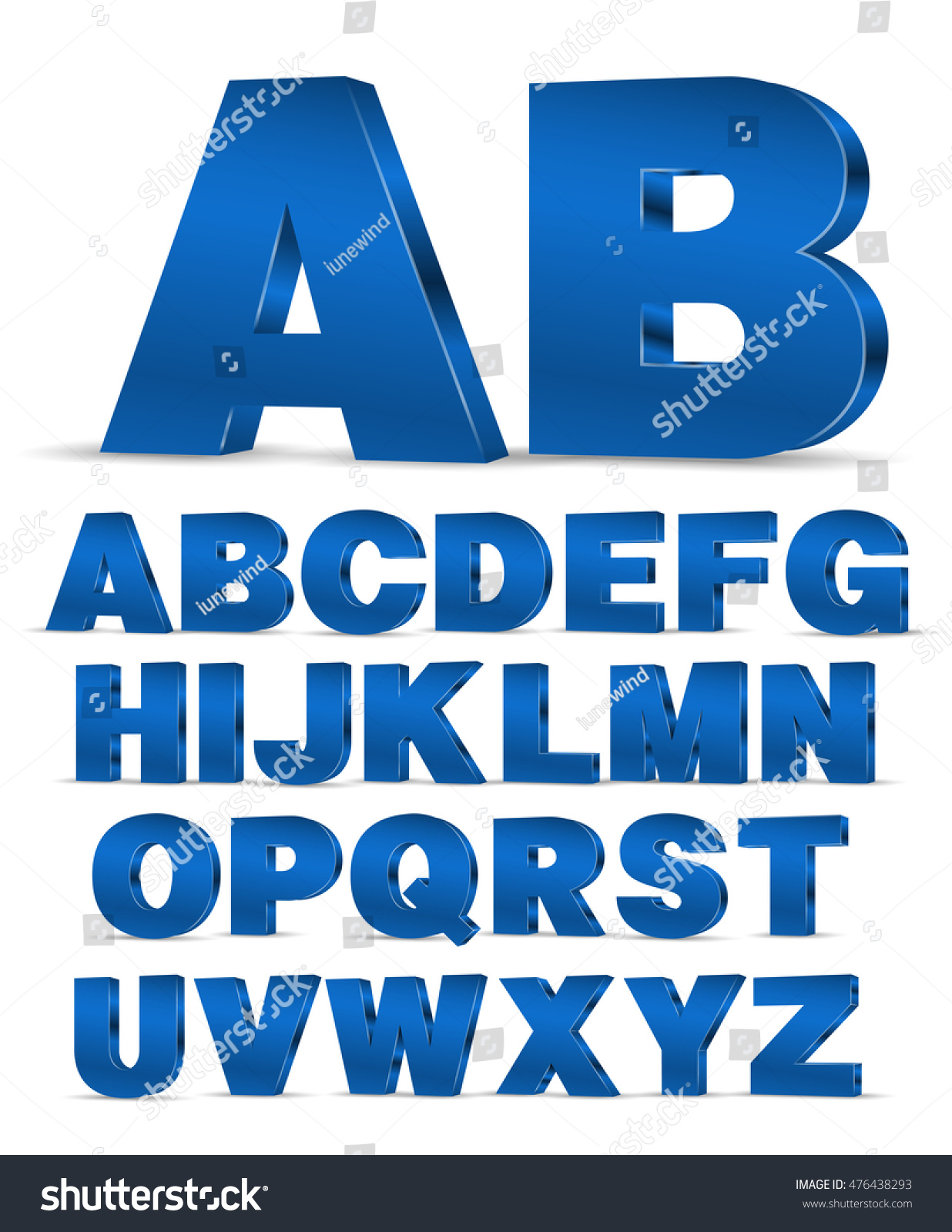 Blue colored 3D style decor poster typeface vector font. Set of latin capital letters and numbers #476438293