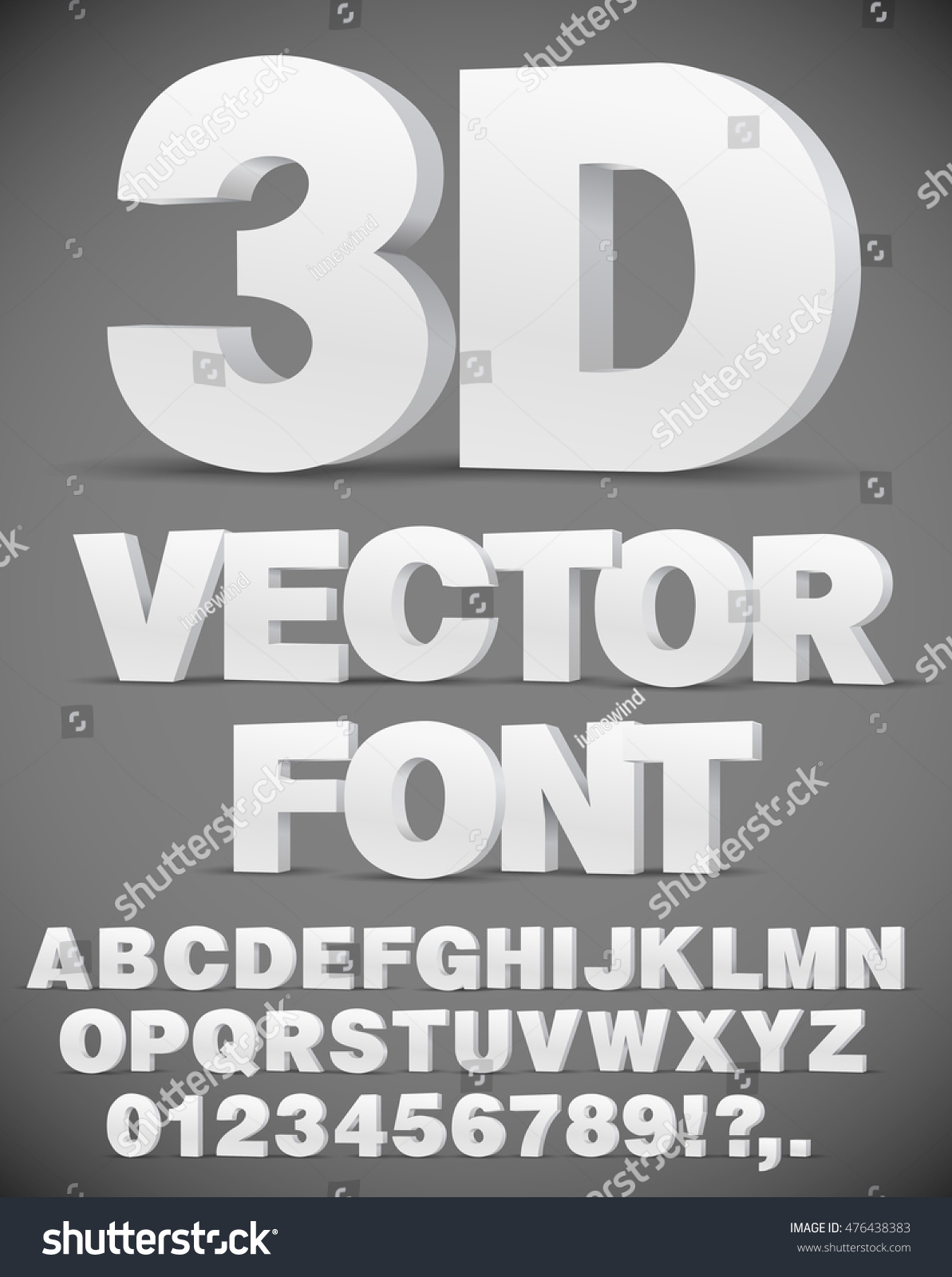 Vector 3D flat style font. Set of letters and numbers in EPS10 #476438383
