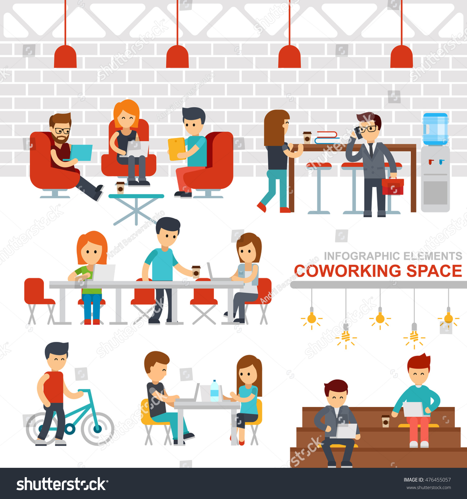 Coworking Space Infographic Elements Vector Flat Stock